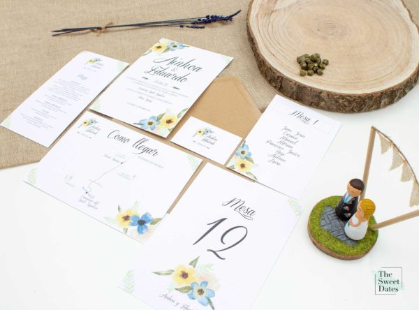 Papelería boda Allamanda - Invitaciones boda The Sweet Dates Zaragoza