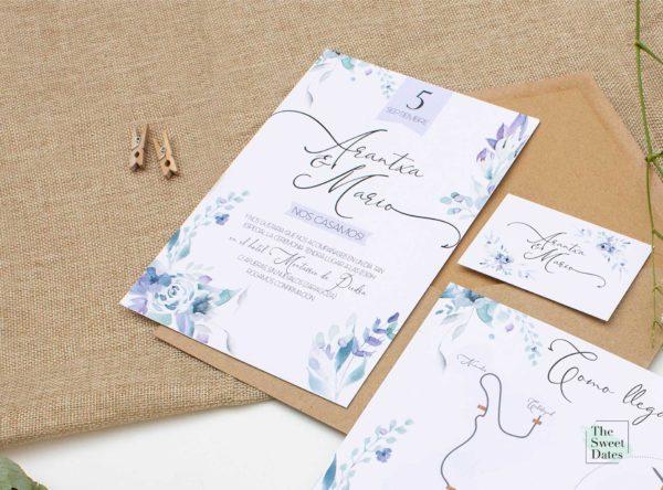 Invitación boda Loreta acuarela floral Zaragoza