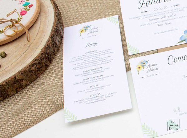Minutas menu boda Allamanda - The Sweet Dates Zaragoza