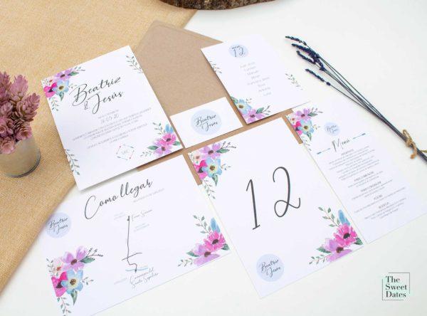 Papelería boda Priscila - Invitaciones boda The Sweet Dates Zaragoza