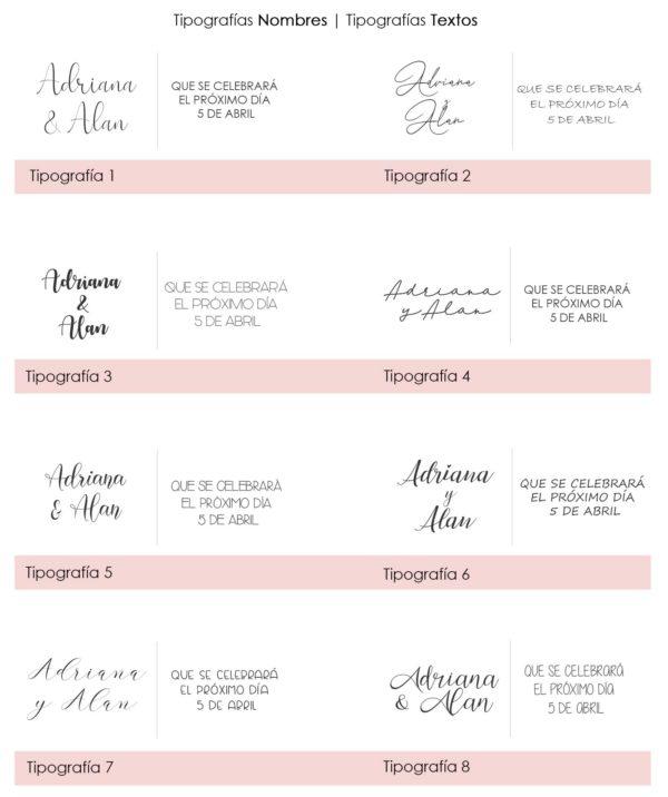 Tipografia invitaciones de boda Anatolia