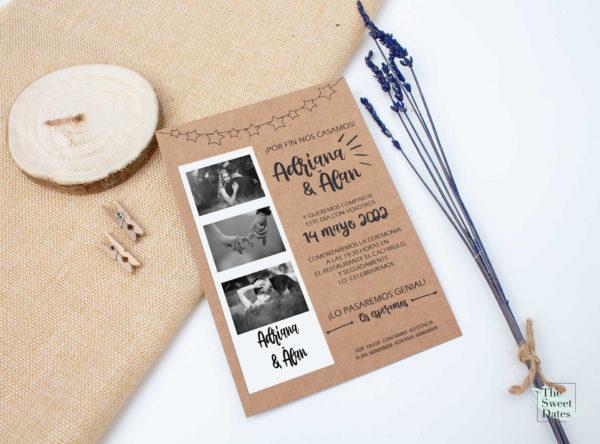 Invitación boda rústica en kraft con foto de los novios Colette - The Sweet Dates Zaragoza