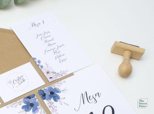 Sello de caucho base de madera para boda