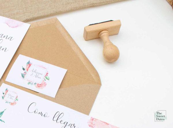 Sello de caucho de madera para bodas