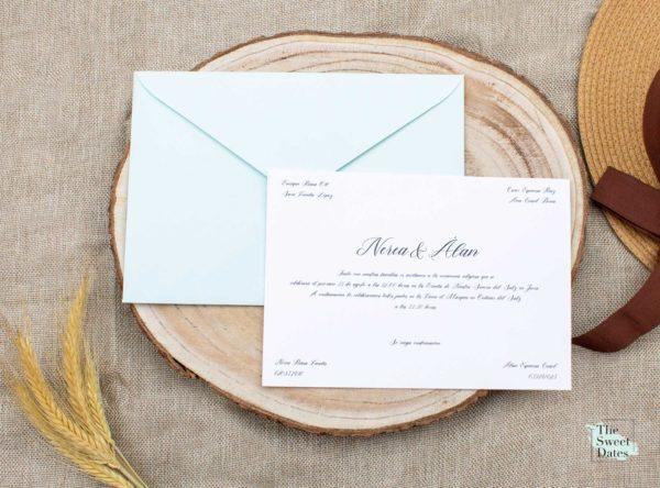 Invitación boda clásica tipo tarjetón tradicional The Sweet Dates