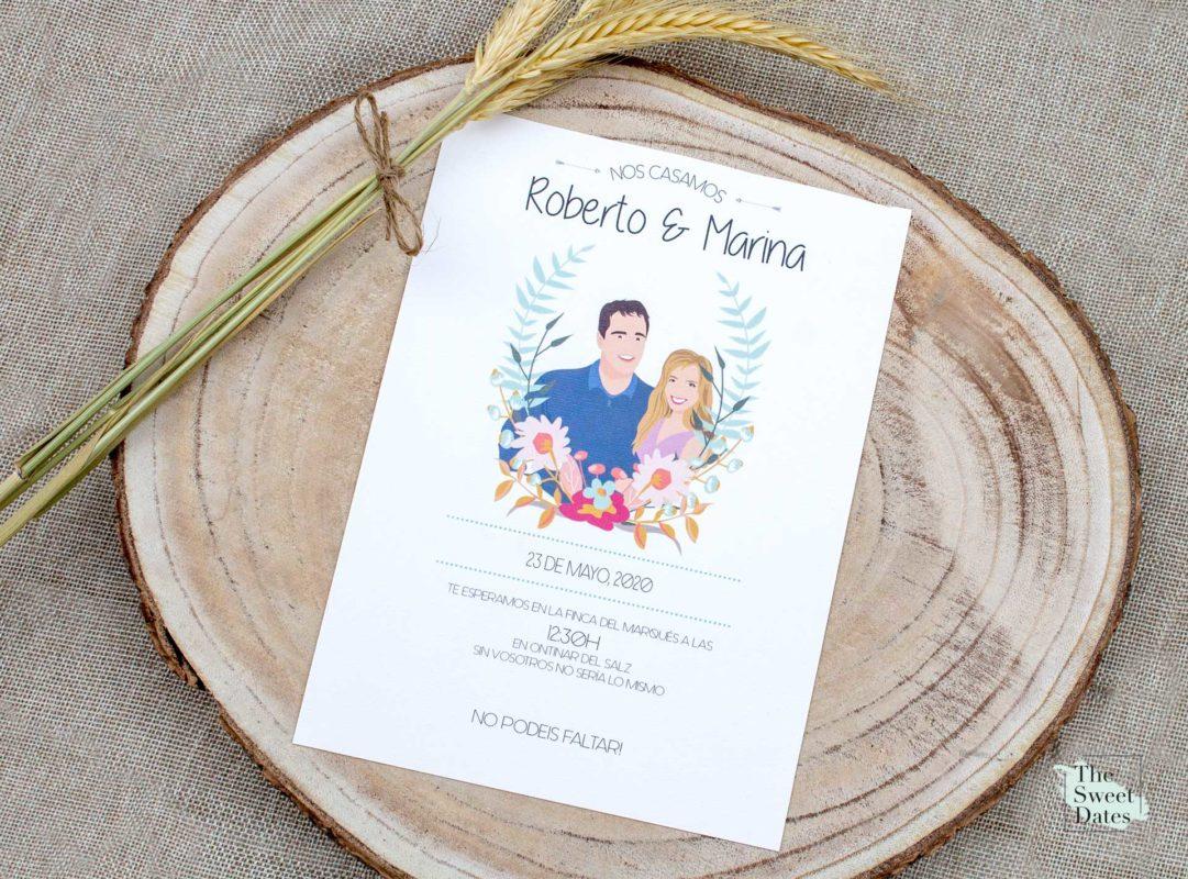 Invitaciones de boda ilustradas originales en Zaragoza