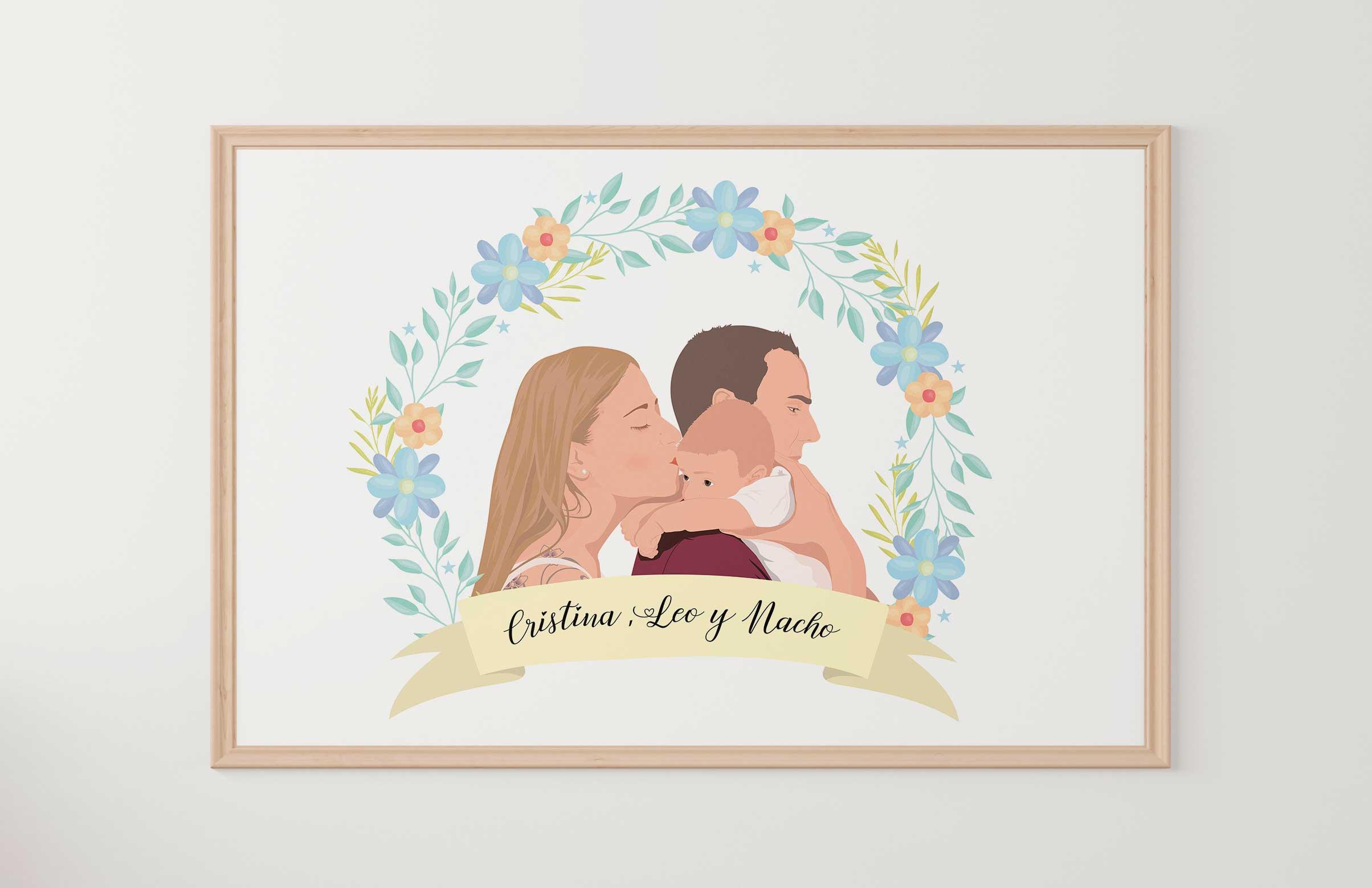 Invitaciones de boda Ilustradas de pareja personalizadas