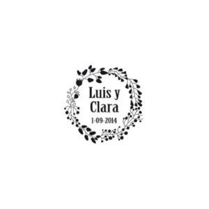 Sello caucho floral circulo para bodas - The Sweet Dates Zaragoza