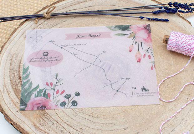 Mapa boda en papel vegetal - Plano como llegar The Sweet Dates