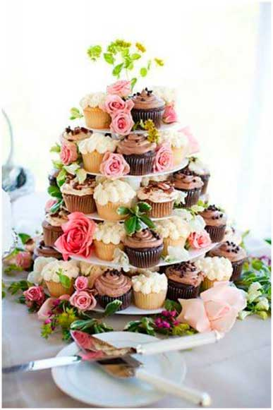 Torre de cupcakes boda nupcial - The Sweet Dates