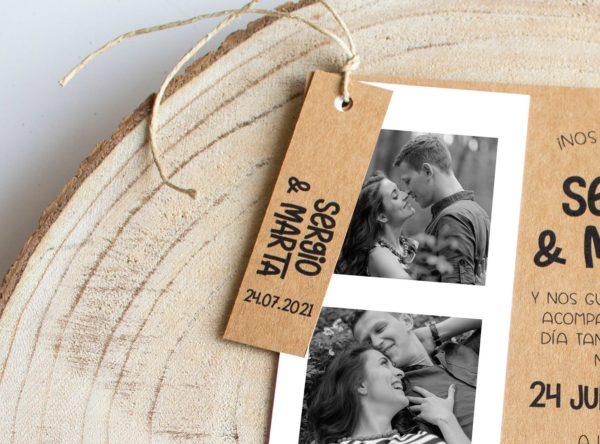 Etiqueta boda rústica Mirelle The Sweet Dates con cordel