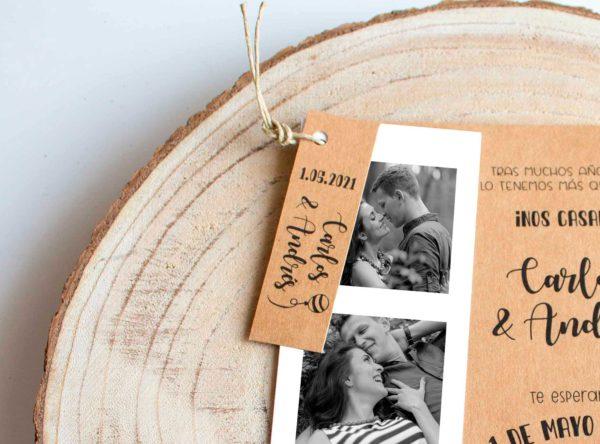 Etiqueta boda rústica Paulette The Sweet Dates con cordel
