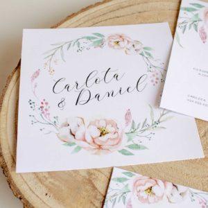 Invitación de boda Epidia cuadrada romántica en tendencia colores suaves y elegantes - The Sweet Dates Zaragoza