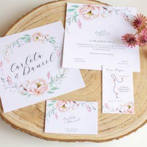Colección completa papelería boda con invitación romántica cuadrada Zaragoza