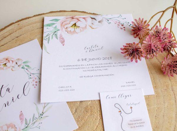 Invitación boda Epidia romántica cuadrada doble cara con corona de flores acuarela The Sweet Dates Zaragoza
