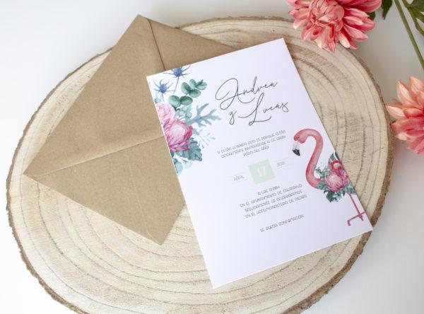 Invitacion de boda floral tropical Zaragoza barata