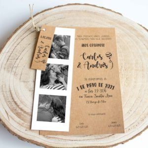 Invitación boda rústica Paulette con fotomaton en kraft bohoo The Sweet Dates Zaragoza