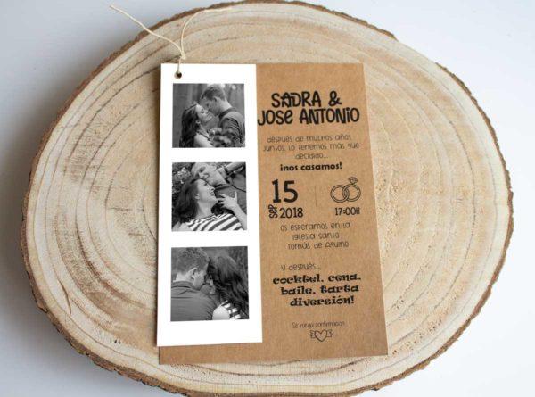 Invitación boda rústica Nadine barata campestre con fotos novios - The Sweet Dates Zaragoza