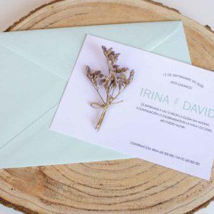 Invitacion boda con flores secas aguamarina The Sweet Dates Zaragoza