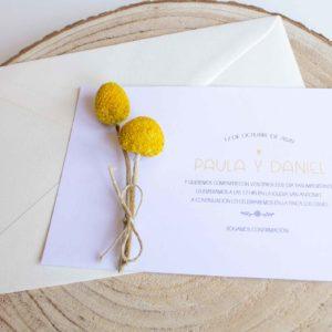 Invitación boda clásica con flores preservadas - The Sweet Dates Zaragoza