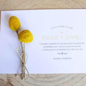Invitación boda con flores secas amarillo ramillete Zaragoza