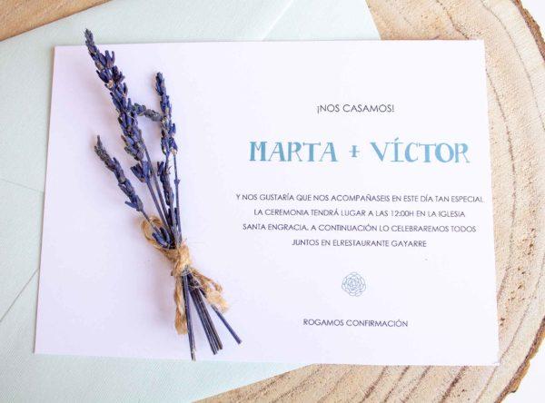 Invitación boda con flores preservadas The Sweet Dates Zaragoza floral