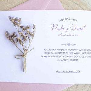 Invitacion boda tarjeton rosa flores ramillete secas - The Sweet Dates