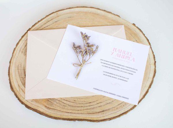 Invitacion boda clasica elegante flores preservadas de moda - The Sweet Dates Zaragoza