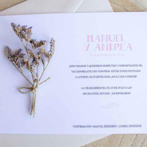 Invitacion boda clasica con flores secas - Zaragoza