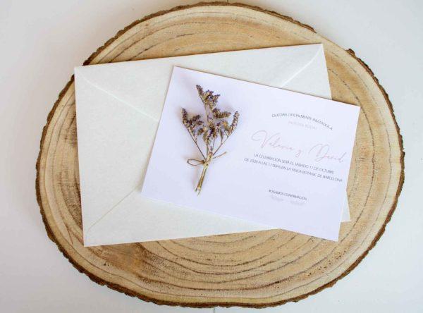 Invitacion boda Zaragoza clasica crema flores