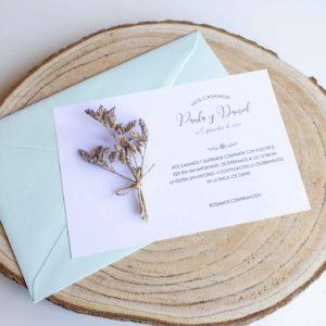 Invitacion boda flores ramillete Zaragoza