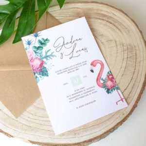 Invitacion boda tropical con flamencos Nicasia - The Sweet Dates Zaragoza