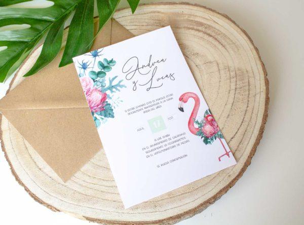 Invitacion boda tropical con flamencos Nicasia - The Sweet Dates Zaragoza