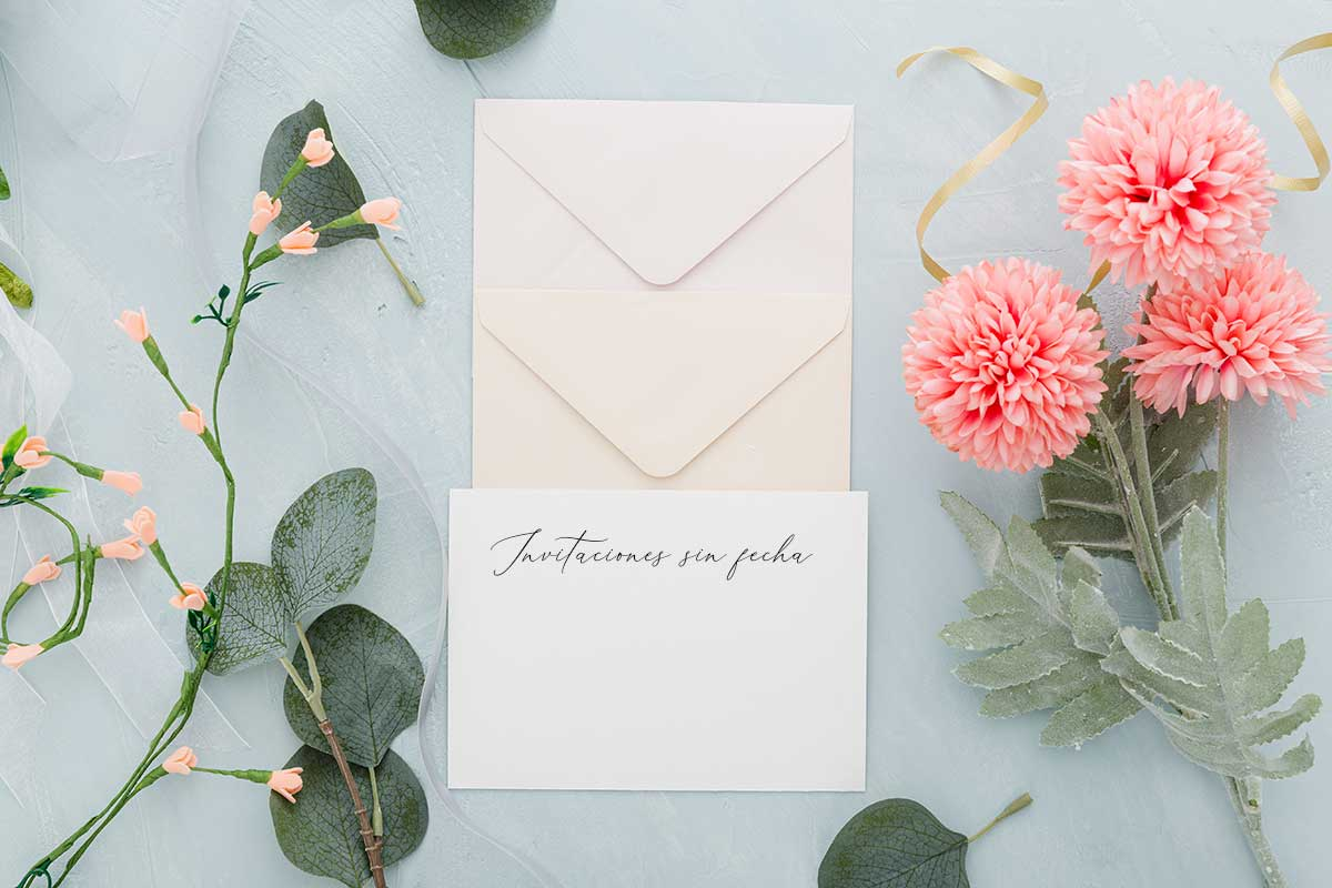 Invitaciones de boda sin fecha covid sobre sello alternativa - The Sweet Dates Zaragoza online