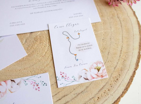 Mapa formato pequeño boda tarjeta - The Sweet Dates Zaragoza