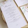 Minutas epidia romántica con corona de flores. menu para bodas - The Sweet Dates Zaragoza