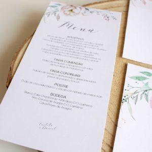 Menu boda Romántico con flores rosas - The Sweet Dates Zaragoza