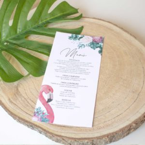minutas boda tropical nicasia a juego con las invitaciones - The Sweet Dates Zaragoza