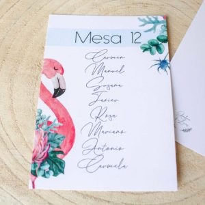 Seating plan boda Nicasia con flamenco y plantas naturales - The Sweet Dates Zaragoza