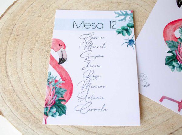 Seating plan boda Nicasia con flamenco y plantas naturales - The Sweet Dates Zaragoza