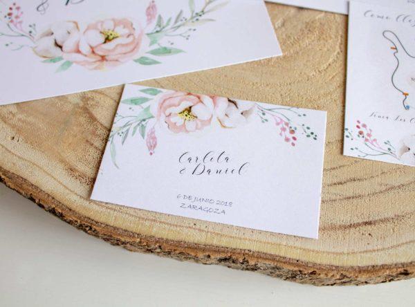 Tarjeta de agradecimiento boda con el nombre de los novios - The Sweet Dates Zaragoza