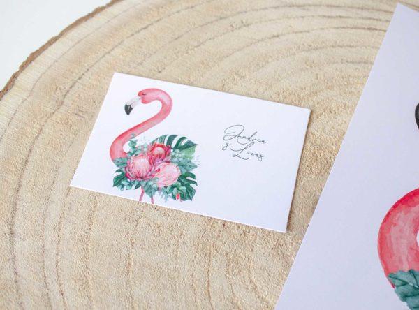 Tarjeta boda tropical Nicasia con flamencos y colores vivos añade tu logo - The Sweet Dates Zaragoza