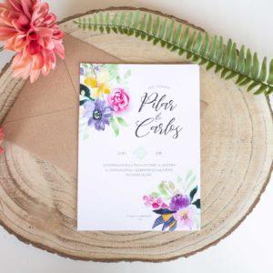 Invitacion de boda Calista colores vivos