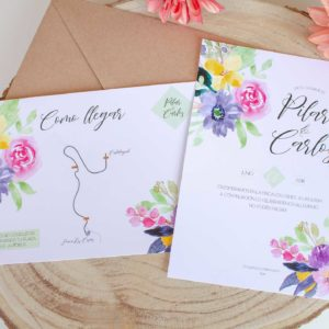 Invitacion boda Calista Suite Floral con toques en acuarela - The Sweet Dates Zaragoza