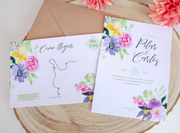 Invitacion boda Calista Suite Floral con toques en acuarela - The Sweet Dates Zaragoza