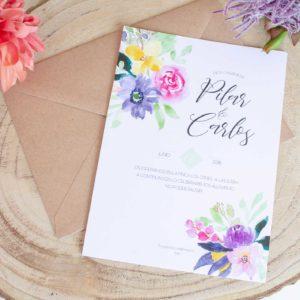 Invitacion de boda Calista. Diseñada con delizadeza y mucho mimo. Flores en acuarela texturas - The Sweet Dates Zaragoza