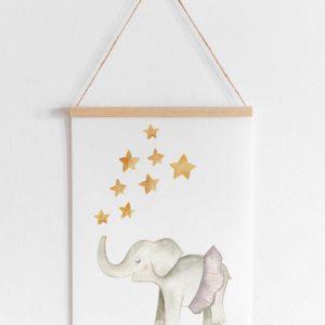lamina infantil elefante tirando estrellas