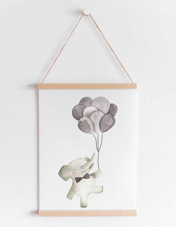 lamina infantil elefante de pie con globos